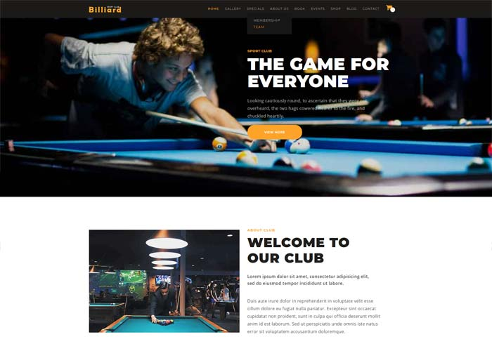 Billiards theme