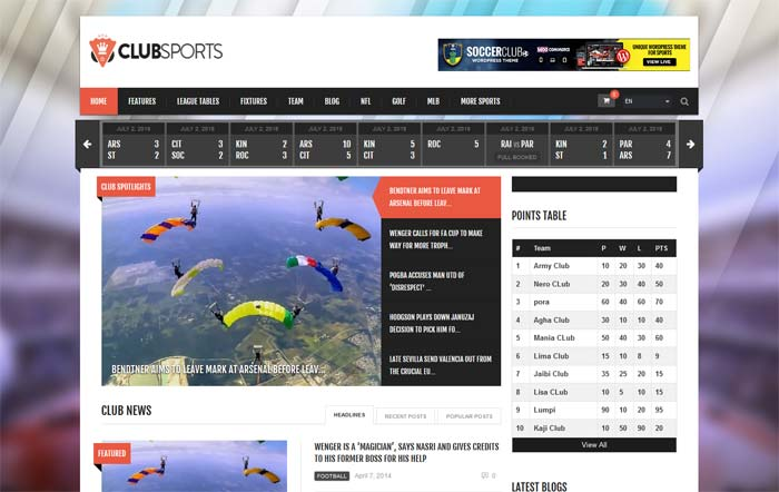 Clubsports theme for WordPress