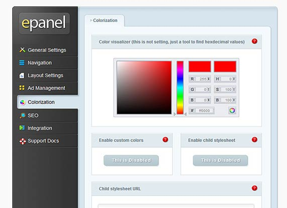 Colorization ePanel