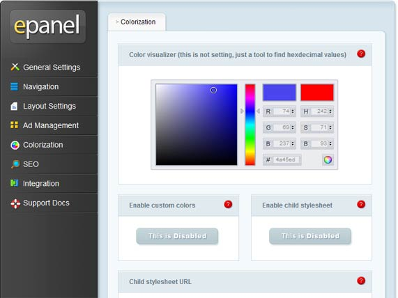 ePanel color settings