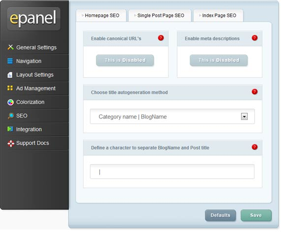 ePanel SEO settings