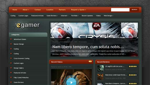 Gamer WordPress theme
