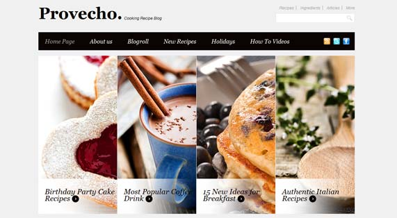 Recipes blog WordPress theme