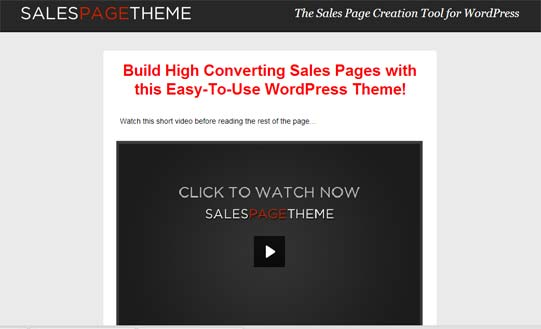 Sales page theme