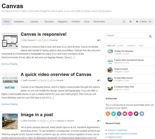 WooThemes canvas