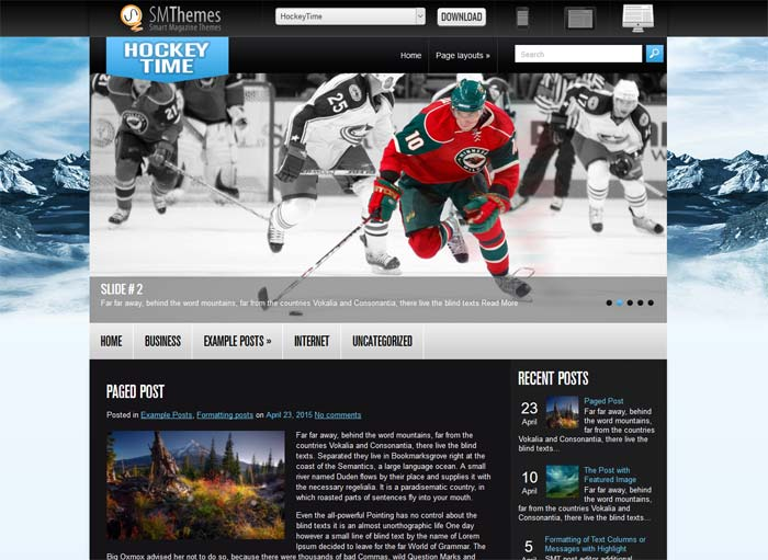 WordPress theme for hockey site
